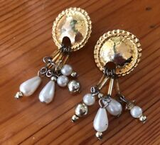 Vintage Avon Gold Pearl Pierced Earrings 80s