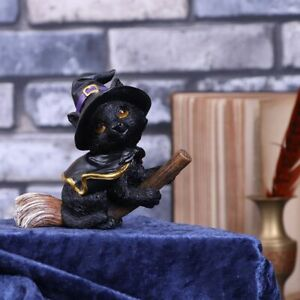 Tabitha  Black Cat on Witches Broomstick Witches Familiar Figurine