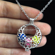"""STK101 Silver Pearl Cage Baby Bib Locket Necklace Stainless Chain 18"""""""