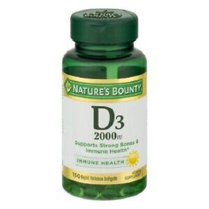 Nature's Bounty Vitamin D3 Softgels, 2000IU, 150ct 074312176210A670