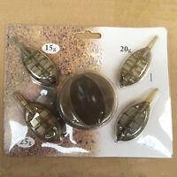 Carp Fishing Inline Method Feeder Set  4 Feeders 15/20/25/35g + Moulds Set T5O5
