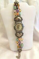 Silver Colorful Stones & Glass Beads Santa Fe Peyote Bird Watch Sterling