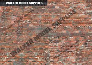 1:16 scale (3xA4) Brick wall - Peel and Apply sticker. Set 8
