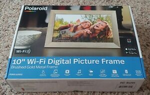 "NEW POLAROID PDWX-1050G 10"" Wi-Fi DIGITAL PICTURE FRAME Brushed Gold Metal Frame"