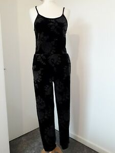 Topshop Black Velvet Jumpsuit Sparkly Floral Print Sz 8