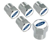 Ford Blue Logo Chrome Valve Stem Cap Covers 5 Caps
