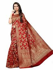 Indian Bridal Red Banarasi Silk Woven Women Saree Valentines Day Dress Sari