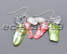 P5563 green pink white tail freshwater pearl clean crystal dangle earring 925sil