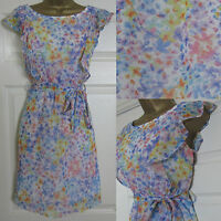 NEW EX F&F Floral Print Summer Tea Dress Tunic Sundress Ivory Pink Blue Sz 6-18