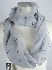 Maritim Anker grau blau weiß Meer Schlauchschal Halstuch Schal Loop Tuch Neu w