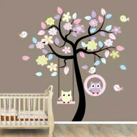 Tree Woodland Owls Wall Decal 3D Stickers Pastal Childs Bedroom Nursery Playroom