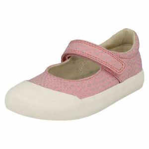 Niña Clarks Cierre Adhesivo Bebé Rosa Combi Lona Zapatos Comic Zumbido Talla UK