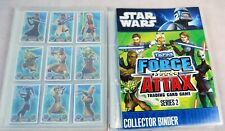 2 Star Wars Force Attax Trading Card Games Collector Binders with many cards.
