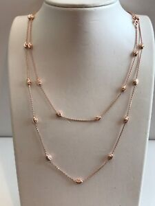 DIAMOND CUT OVAL ITALIAN 36'' LONG NECKLACE/ ROSE GOLD OVER 925 STERLING SILVER