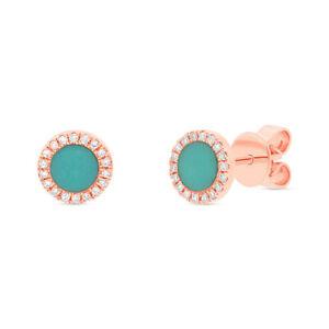 0.55 TCW 14K Rose Gold Natural Round Turquoise Diamond Circle Stud Earrings