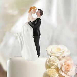 FM_ Romantic Cake Topper Bride and Groom Resin Figurines Ornament Wedding Decor