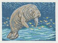 Florida Manatee handpainted Needlepoint Canvas for Insert by Needle Crossings