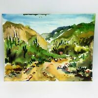 Original Watercolor Painting by MURRAY KESHNER Desert CACTUS Landscape SAGUARO