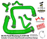 86-93 Ford Mustang 5.0 Green Silicone Radiator Hose Kit - SMOOTH LINED CLAMPS