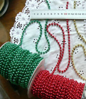 String of Pearls RED or GREEN 6 mm thick 5 Metre Lengths 2 Colour Choice V6