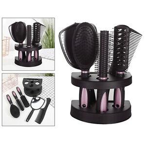 New 5Pcs Salon Home Hair Brush Comb Set Mirror & Stand Holder Women Travel