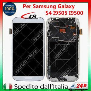 LCD DISPLAY + FRAME PER SAMSUNG GALAXY S4 i9500 i9505 TOUCH SCREEN VETRO BLANCO