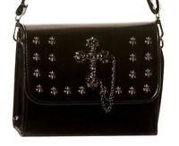 Banned Faux Leather Tombstone Cross Studed Gothic Shoulder Bag Handbag Black