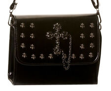 Banned Faux Leather Tombstone Cross Studed Gothic Shoulder Bag Handbag Black