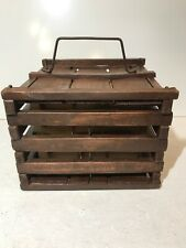 Rustic Wooden Slat Egg Crate Carrier Box Country Farmhouse Primitive Decor