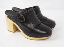 7fe04b8da60f MADEWELL Classic Clog Black Leather High Heel Platform Fringe Mule Shoes  Women 9
