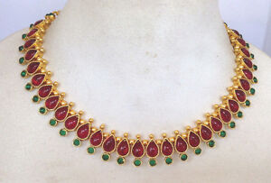 BEAUTIFUL BRIDAL Kundan G/R stone Necklace set with Earring