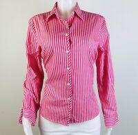 Foxcroft Women Size 10 Wrinkle Free Striped Button Long Sleeves Blouse Top Shirt