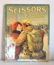 Old Antique Tobacco Scissors Cigarette Advertising Sign Cardboard Litho Landon