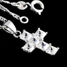 Womens White Gold Filled Crystal Stone Cross Pendatnt With Water Wave Necklace