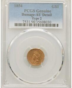 1854 Type 2 Gold Dollar, Rare Type, PCGS AU Detail