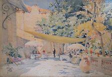 René Leverd Aquarelle Avignon Titrée Terrasse de St-Tropez p1000