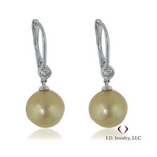 0.22CTW Round Diamond and South Sea Pearl Earrings 18K