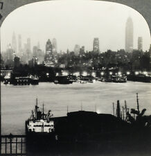 Keystone Stereoview the Piers & New York City at Night From RARE 1200 Card Set