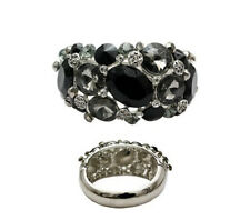 Silver Toned Bangle With Black Stones