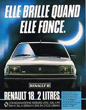 "PUBLICITE ADVERTISING 054  1983  RENAULT 18   2L "" ELLE BRILLE"""