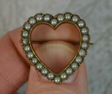 Victorian Gold Cased Pearl Heart Shaped Brooch t0691