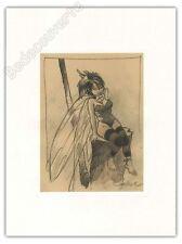 Affiche LOISEL Fée Clochette assise 30x40