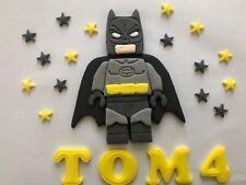 Batman Lego Cake Topper . Edible Hand Made Bithday 5 Inch Hight Name & Age Stars