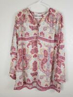 Violet & Claire Womens XL Multi Color Paisley Floral Tunic Long Sleeve V Neck