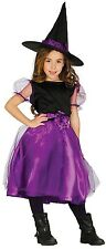 Girls Purple Witch Halloween Horror Princess Fancy Dress Costume Outfit 5-12 yrs