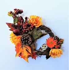 AUTUMN FALL SMALL GRAPEVINE WREATH OWL FLORAL DECORATION WALL DOOR LEAVES FLOWER