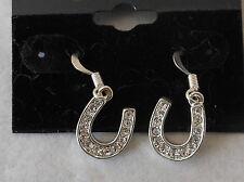 Horse Shoe Horses Earrings Clear Crystal Pierced Dangle Silver
