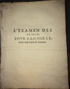 L'EXAMEN DES PRINCES POUR GAIGNER LE JUBILÉ DANS LE BOIS DE VINCENNES . 1650.