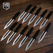 "12pc Throwing Knives 6"" Black 440 Stainless Knife SET Ninja Naruto Kunai w/ CASE"