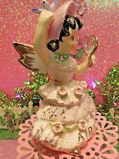 Vtg 1957 LEFTON April Angel W Bluebird Bonnet Rhinestone Mirror Pink Rose Trim